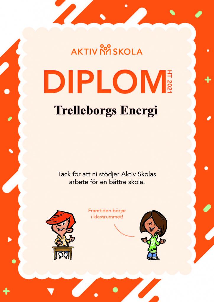 Diplom till Trelleborgs Energi från Aktiv Skola