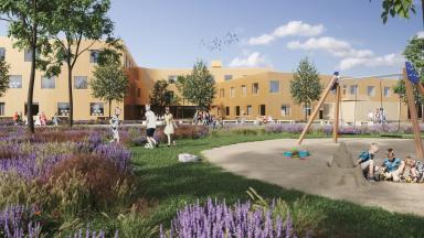 Visionsbild av skolgård med skolbyggnad i bakgrunden